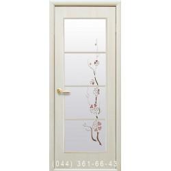 Двери Виктория дуб жемчужный со стеклом (матовое) + рис. Р3