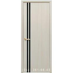 Двери Вита дуб жемчужный со стеклом (черное)
