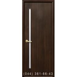 Двері Глорія каштан зі склом (сатин матовий)