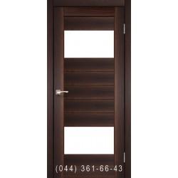 Двері КОРФАД PORTO PR-09 горіх зі склом (сатин матовий)