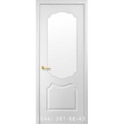 Двері Вензель (Сімплі V) структурний зі склом (сатин матовий)