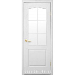 Двері Класик (Сімплі В) структурний зі склом (сатин матовий)