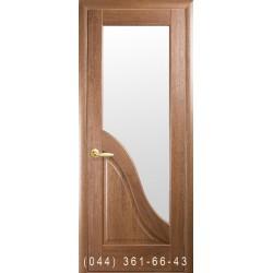 Двері Амата золота вільха зі склом (сатин матовий)
