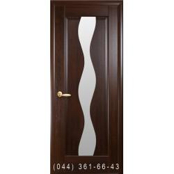 Двери Волна каштан со стеклом (сатин матовый)