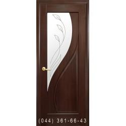 Двери Прима каштан со стеклом (матовое) + рис. Р2