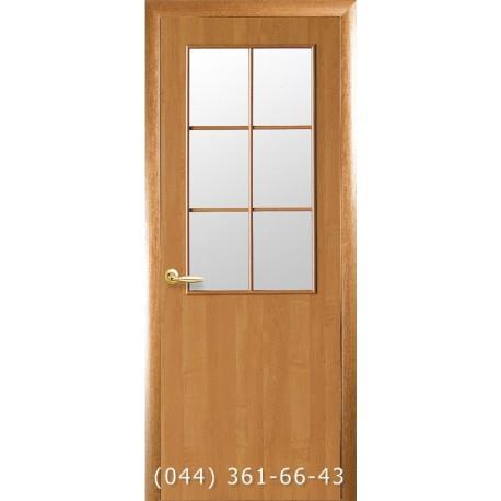 Двери Стандарт (Колори В) ольха 3d со стеклом (сатин матовый)