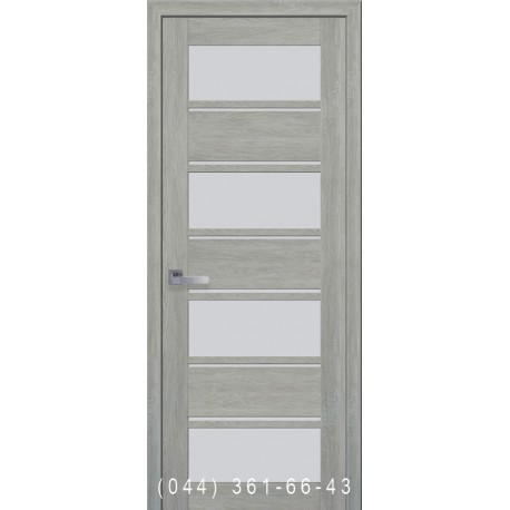 Двери Элиза дуб дымчатый со стеклом (сатин матовый)