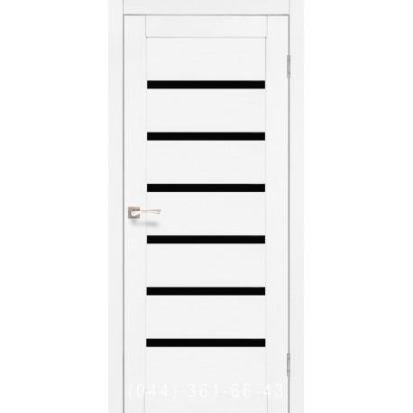 Двері КОРФАД PORTO DELUXE PD-01 ясень білий зі склом (чорне)