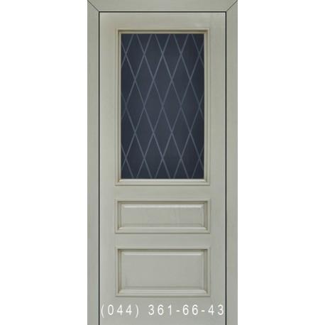 Двері Подільські Тіфані пісочна патина зі склом (матове) + рис.