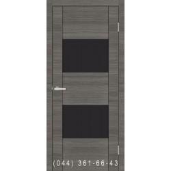 Двері Cortex Deco 03 дуб Ash Line зі склом (чорне)