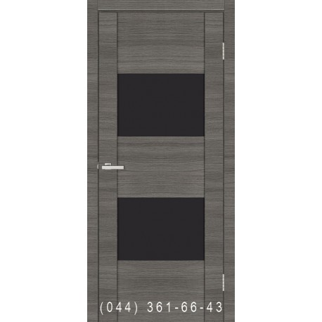 Двери Cortex Deco 03 дуб Ash Line со стеклом (черное)