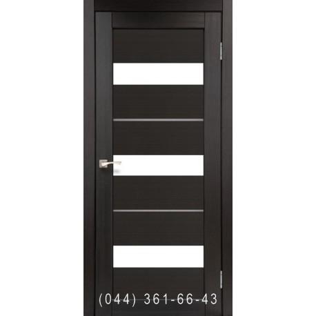 Двері КОРФАД PORTO DELUXE PD-12 венге зі склом (сатин матовий)