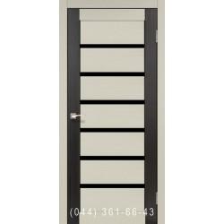 Двери КОРФАД PORTO COMBI DELUXE PCD-01 дуб беленый/венге со стеклом (черное)