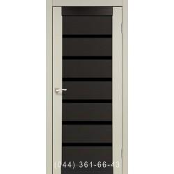 Двері КОРФАД PORTO COMBI DELUXE PCD-02 дуб білений/венге зі склом (чорне)