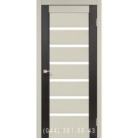 Двері КОРФАД PORTO COMBI COLORE PC-01 дуб білений/венге зі склом (сатин матовий)