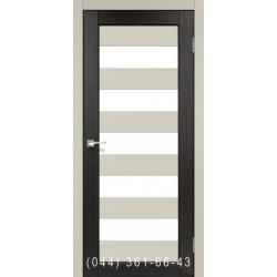 Двери КОРФАД PORTO COMBI COLORE PC-04 дуб беленый/венге со стеклом (сатин матовый)