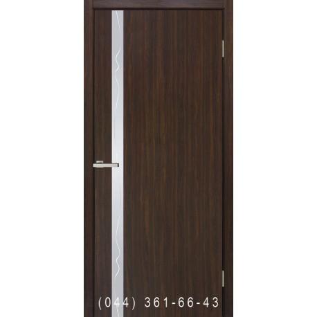 Двері Рубін палісандр люкс глухе + вставка дзеркало