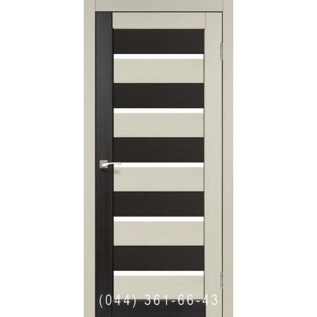 Двері КОРФАД PORTO COMBI COLORE PC-05 дуб білений/венге зі склом (сатин матовий)