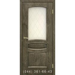 Двери Венеция дуб шервуд со стеклом (матовое) + рис.