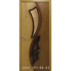 Двері Лілія 2 дуб натуральний двоколірний зі склом (сатин матовий)