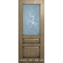 Двері Верона дуб Шервуд зі склом (сатин матовий)