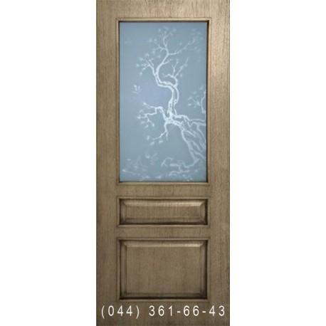 Двери Верона дуб шервуд со стеклом (сатин матовый)
