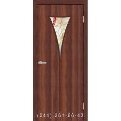 Двері Рюмка 2 горіх зі склом (матове) + рис.