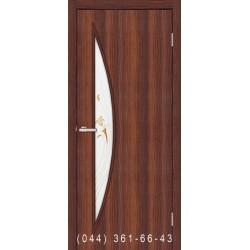 Двері Парус горіх зі склом (матове) + рис.