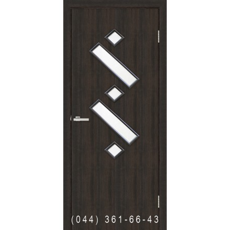 Двери Танго 2 венге со стеклом (сатин матовый)
