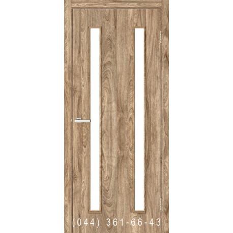 Двері Вероніка дуб Оріндж зі склом (сатин матовий)