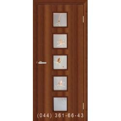 Двери Альта 5 орех со стеклом (матовое) + рис.