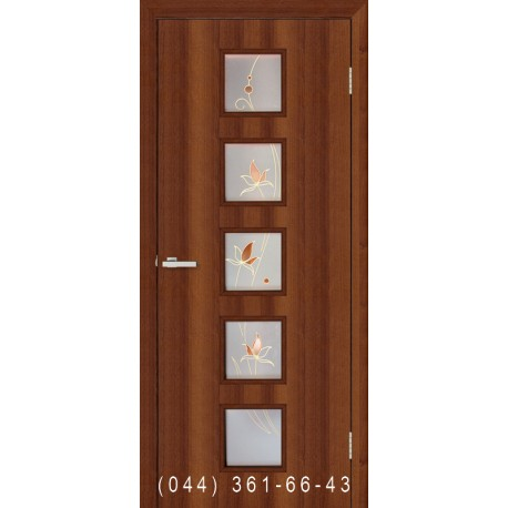 Двері Альта 5 горіх зі склом (матове) + рис.