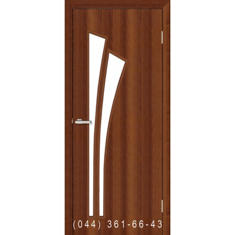 Двери Пальма орех со стеклом (сатин матовый)