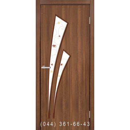 Двери Триумф ольха европейская со стеклом (матовое) + рис.