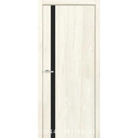 Двери Сити дуб Остин глухое + вставка черное стекло
