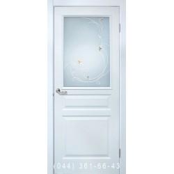 Двери Барселона ПВХ белый со стеклом (сатин матовый)