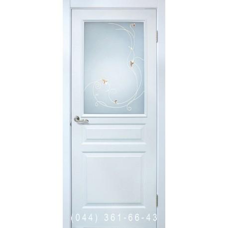 Двері Барселона ПВХ білий зі склом (сатин матовий)