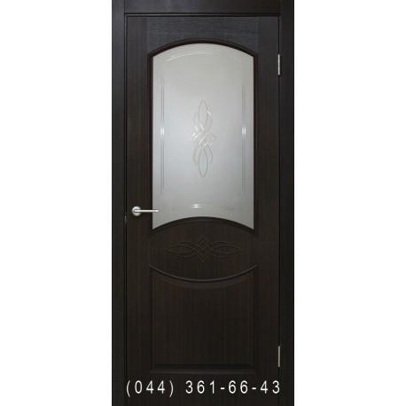 Двери Даниэлла ПВХ венге со стеклом (сатин матовый)