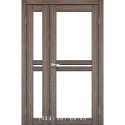 Двери КОРФАД MILANO ML-06 дуб грей со стеклом (сатин матовый)