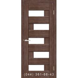 Двери Домино каштан со стеклом (сатин матовый)