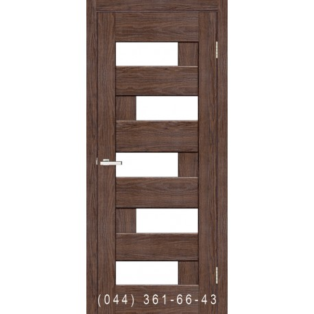 Двері Доміно каштан зі склом (сатин матовий)