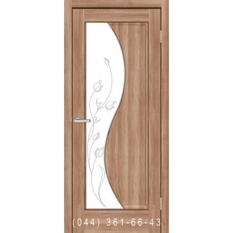 Двери Эльза ПВХ дуб золотой со стеклом (матовое) + рис.