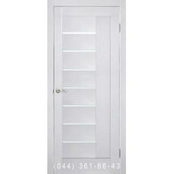 Двери Фелиция ПВХ ясень перламутр со стеклом (сатин матовый)