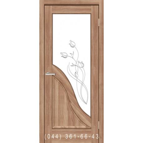 Двери Габриэлла ПВХ дуб золотой со стеклом (матовое) + рис.
