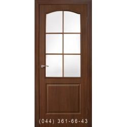 Двери Классика СС ПВХ орех со стеклом (сатин матовый)