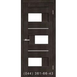 Двери Куб ПВХ венге со стеклом (сатин матовый)