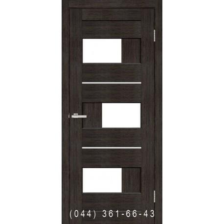 Двері Куб ПВХ венге зі склом (сатин матовий)