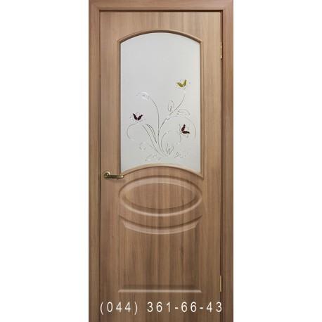 Двери Лика ПВХ дуб золотой со стеклом (матовое) + рис.
