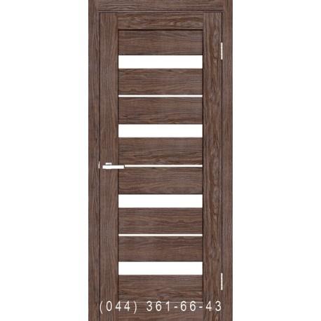 Двері Мілано ПВХ каштан зі склом (сатин матовий)