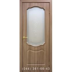 Двери Прима ПВХ дуб золотой со стеклом (сатин матовый)